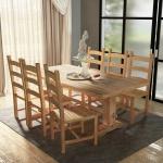 vidaXL 7-tlg. Essgruppe Tisch mit Stühlen Massivholz Teak