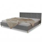Qualitativ Hochwertiges Bett 200 x 180 cm Holz mit Stoffbezug Hellgrau