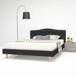 vidaXL Bett mit Matratze 140 x 200 cm Stoff Dunkelgrau
