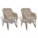 vidaXL Esszimmerstühle 2 Stk. mit Eichenrahmen Stoff Beige