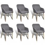 vidaXL Esszimmerstühle 6 Stk. mit Eichenrahmen Stoff Dunkelgrau