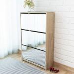 vidaXL Schuhschrank mit 3 Fächern Spiegel Eiche-Optik 63x17x102, 5 cm