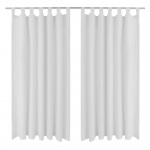 Vorhänge Gardienen aus Satin 2-teilig 140 x 225 cm Weiß
