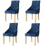 vidaXL Esszimmerstühle 4 Stk. Massive Eiche und Samt Blau
