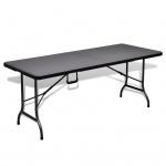 Klappbarer Gartentisch HDPE schwarz Rattan-Imitation 180 cm