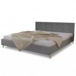 Qualitativ Hochwertiges Bett 200 x 160 cm Holz mit Stoffbezug Hellgrau