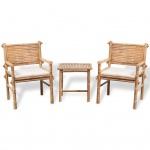 vidaXL Bistro-Set mit Beistelltisch und Sitzkissen Bambus