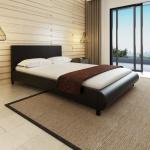 vidaXL Bett mit Matratze 140×200 cm Kunstleder Schwarz