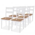vidaXL Esszimmerstühle 6 Stk. Gummibaumholz Weiß