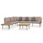 vidaXL Garten-Sofagarnitur 19-tlg. Massives Akazienholz und Stahl