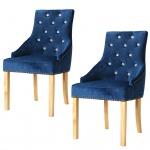 vidaXL Esszimmerstühle 2 Stk. Massive Eiche und Samt Blau