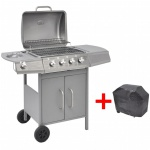 vidaXL Gasgrill Barbecue-Grill 4+1 Brenner Silber