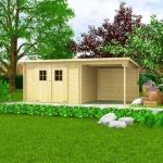 vidaXL Blockhaus Gartenschuppen Massivholz 28 mm 5, 3 x 3 m