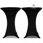 2 x Tischhusse für Stehtisch Stretchhusse Ø60 cm schwarz