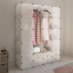 vidaXL Modularer Schrank mit 18 Fächern weiß 37 x 146 x 180, 5 cm