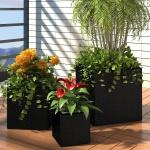 3xBlumentopf Blumenkübel Übertopf Pflanzenkübel Schwarz