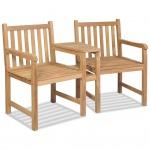 vidaXL Gartenstühle 2 Stk. mit Sonnenschirmloch Massivholz Teak