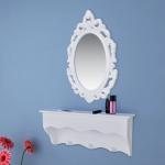 Wandregal für Schlüssel und Schmuck mit Spiegel und Haken