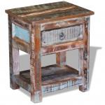vidaXL Beistelltisch mit 1 Schublade Altholz Massiv 43x33x51 cm
