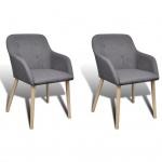 vidaXL Esszimmerstühle 2 Stk. mit Eichenrahmen Stoff Dunkelgrau