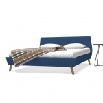 vidaXL Bett mit Matratze 160 x 200 cm Stoff Blau (245127+241404)