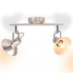 vidaXL Deckenlampe für 2 Glühlampen E14 Silber