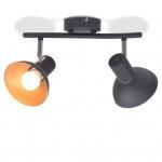 vidaXL Deckenlampe für 2 Glühbirnen E27 Schwarz und Gold