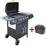 vidaXL Gasgrill Barbecue-Grill 4+1 Brenner Schwarz