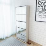 vidaXL Schuhschrank mit 5 Fächern Spiegel Weiß 63×17×169, 5 cm