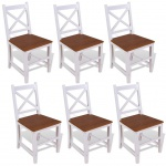 vidaXL Esszimmerstühle 6 Stück Massivholz Teak und Mahagoni
