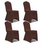 vidaXL Stretch Stuhlbezug 4 Stück Braun