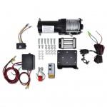 Elektrische Seilwinde + Montageplatte Seilführungsrolle Fernbedienung