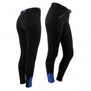 QHP Modische Damen Reithose Basismodell schwarz Stoff-Kniebesatz