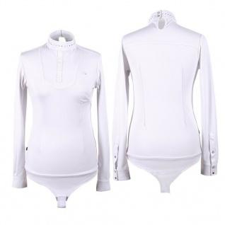 QHP Damen Body-Turniershirt Belle langarm Kragen mit Strass weiss Gr. 42 - 44
