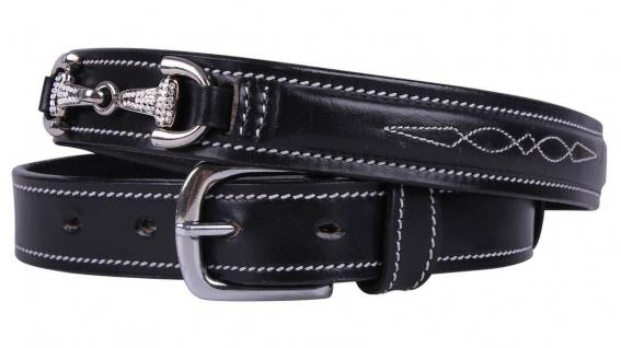 QHP Leder-Gürtel Emberly schwarz Ziergebisse mit Strass-Steinen 4 Größen