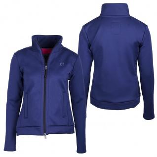 QHP Damen Sweatjacke Leslie mit 2-Wege RV und Stehkragen innen Fleece Blau