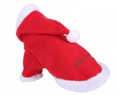 QHP Weihnachtliche Hundedecke Hundemantel rot. mit Hut. weisser Rand 40 cm