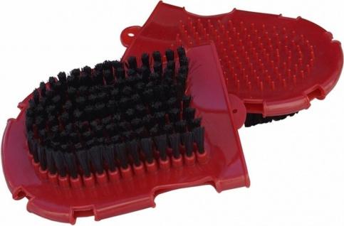 Putzhandschuh mit Bürste und Noppen Kunststoff rot und schwarz