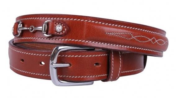 QHP Leder-Gürtel Ricki braun Ziergebisse mit Strass-Steinen 4 Größen