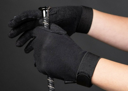 Harry's Horse Reithandschuhe Handschuhe Baumwolle schwarz Antirutsch-Noppen