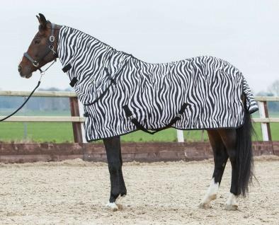 Harry's Horse Fliegendecke Mesh Fliegenschutz Zebra abnehmbares Halsteil Kreuzg.