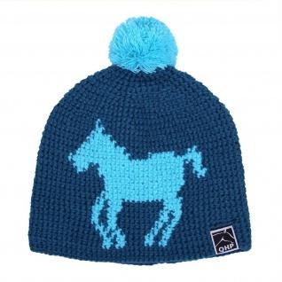 QHP Mütze Beanie handgestrickt mit Bommel Acryl Polyesterfutter Pferd