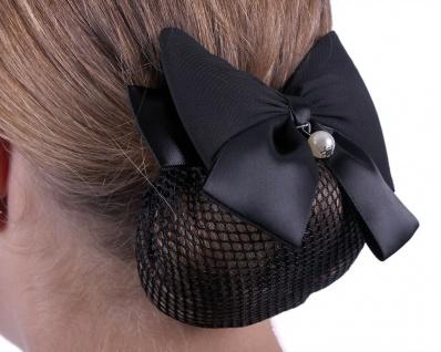 QHP Haarnetz Grace Haarnetz mit doppelter Satinschleife und Perle 2 Farben