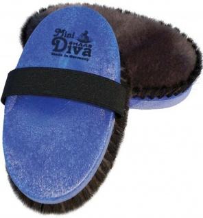 "Haas Glanzbürste "" Diva Mini"" Lammfell Rosshaar Gurtband 150 x 75 mm blau-schwarz"