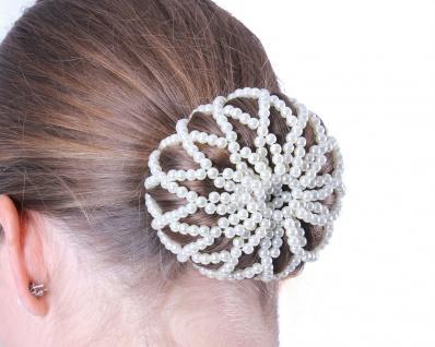 QHP Haarnetz Pearl Perlennetz Perlen elastisch Universalgröße schwarz + weiss - Vorschau 1