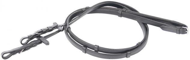 Harry's Horse Lederzügel Soft mit Lederstegen Zügel Leder Nyloneinlage schwarz