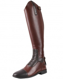 QHP Damen Luxus Leder-Reitstiefel Verena mit mehr Komfort Größe 36 - 42 braun