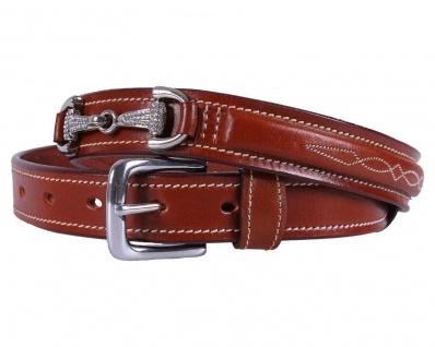 QHP Leder-Gürtel Emberly braun Ziergebisse mit Strass-Steinen 4 Größen