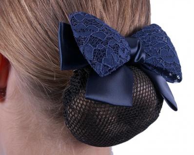 QHP Haarnetz Lace Haarnetz mit doppelter Schleife. Spitze und Satin 2 Farben