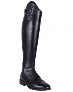 QHP Leder-Reitstiefel Sasha Adult weit schwarz mit wechselbarem Oberteil